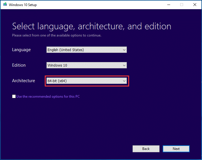 create a bootable USB for 64-bit Windows 10
