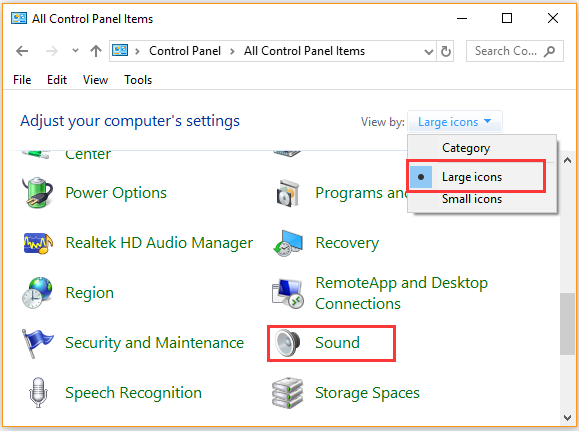 click on Sound in Control Panel
