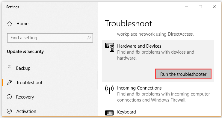 click on Run the troubleshooter