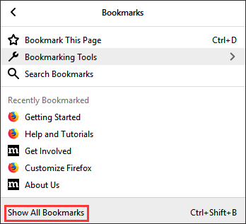 click Show All Bookmarks