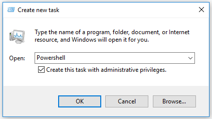input powershell in Create new task window
