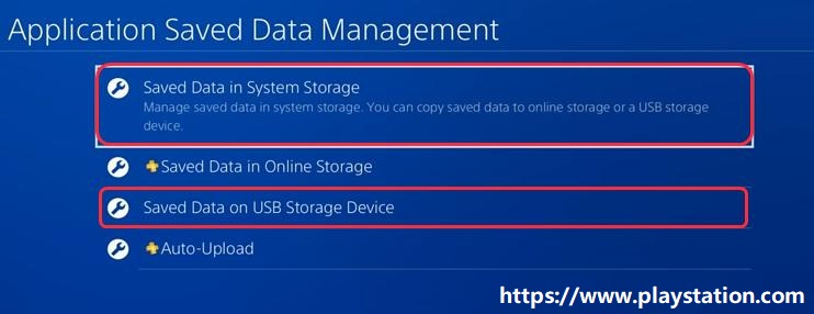 choose saved data in system storage or saved data on USB storage device