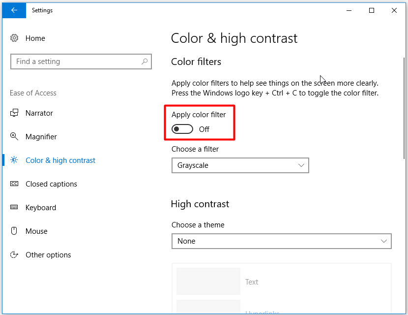 set the status of Apply color filter as Off