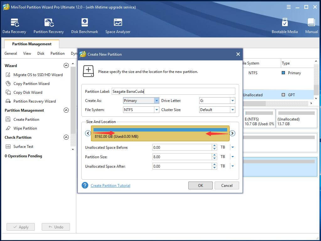Customize New Partition Specifications