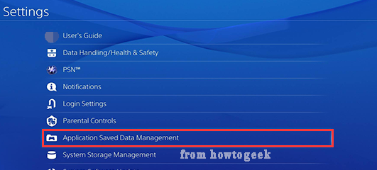 select Application Saved Data Management