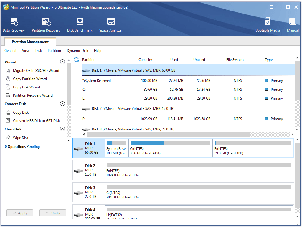 the main interface of MiniTool Partition Wizard