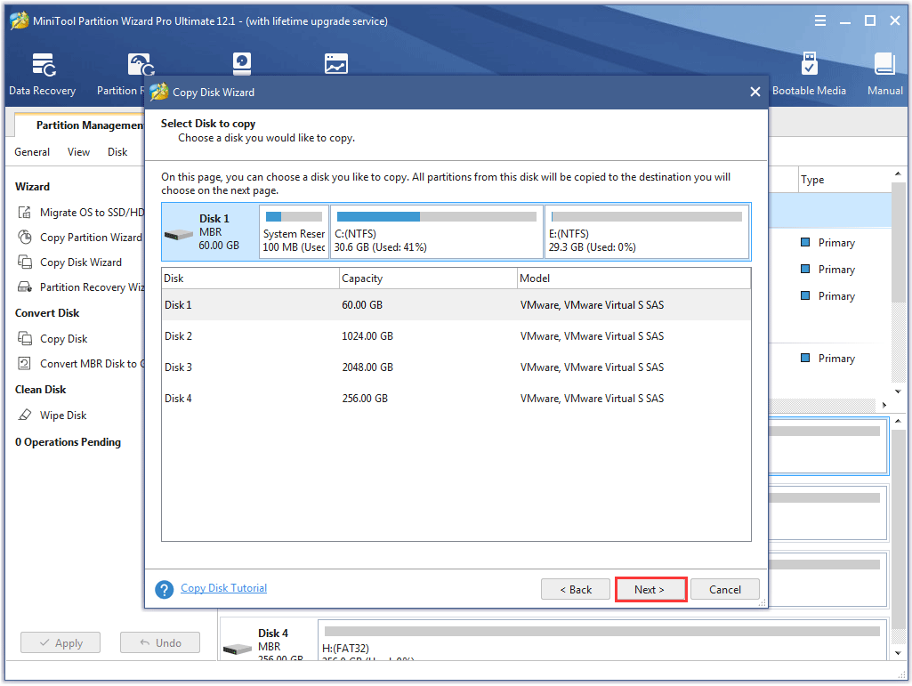 select the source disk