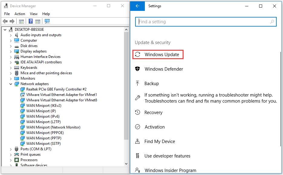 Device Manager and Windows Update