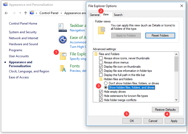 let Windows show hidden files, folders, and drives