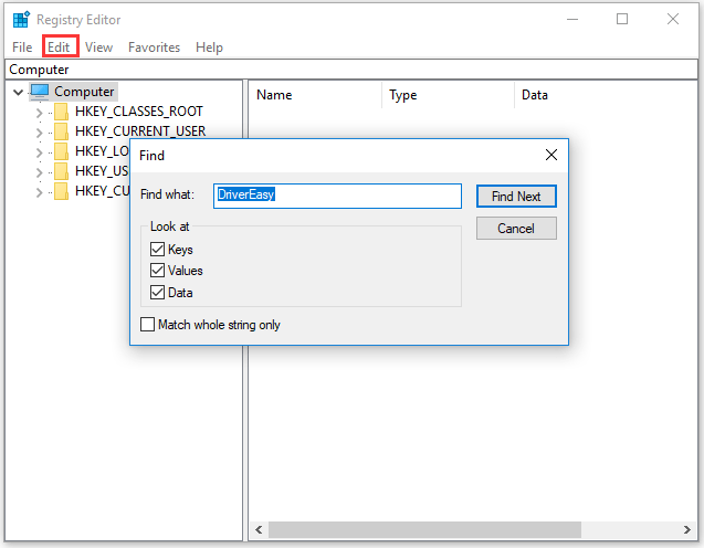 find all keys associated with Driver Easy via Registry Editor