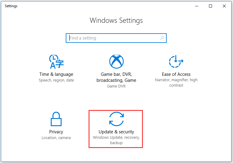 select the Update & security option