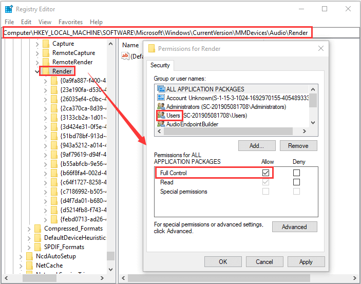 change Windows registry