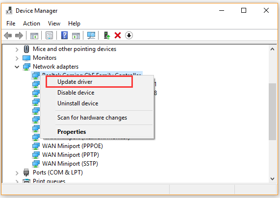 click on Update driver in Device Manager