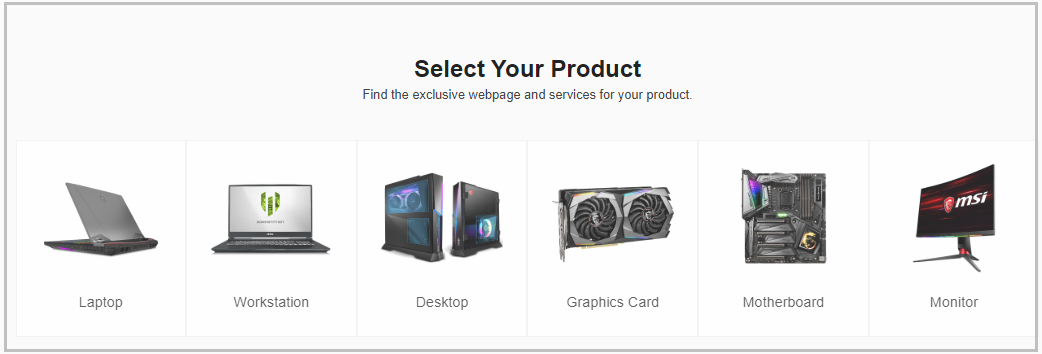 select your product MSI gaming app