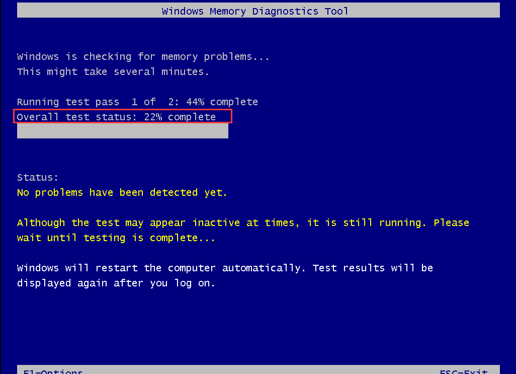 Windows Memory Diagnostics Tool is testing the RAM