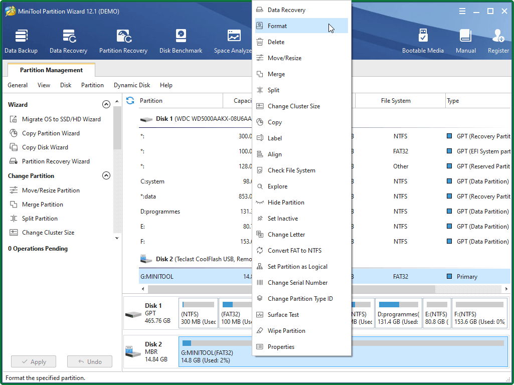 Select Format Partition