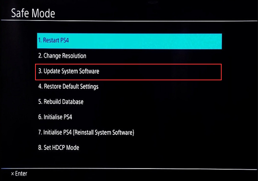 select Update System Software in Safe Mode
