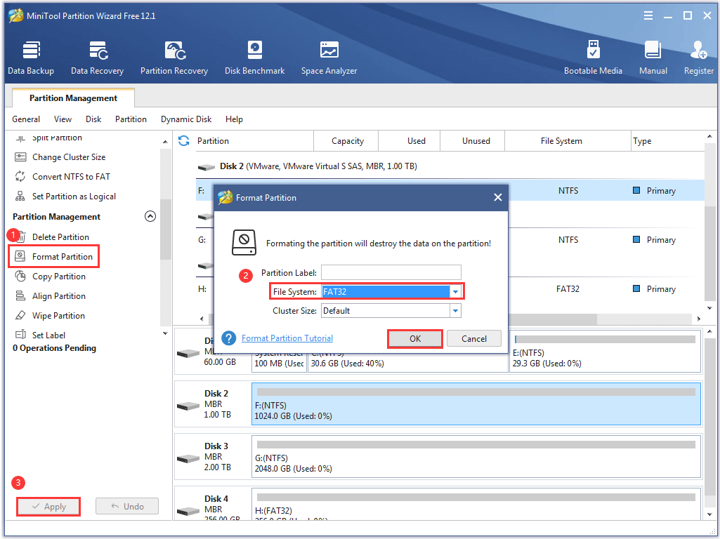 reformat the Seagate external hard drive with MiniTool Partition Wizard