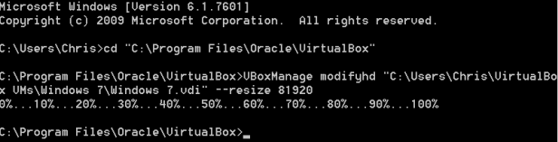 resize VirtualBox disk size via commands