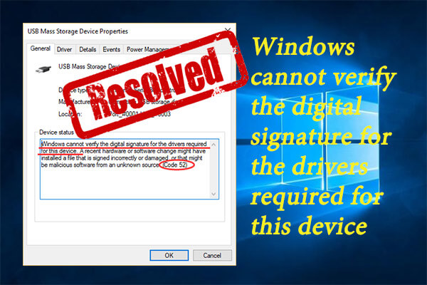 Windows cannot verify the digital signature for the drivers required for this device
