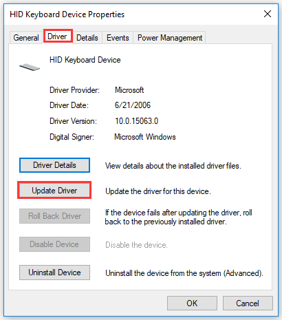 click Update Driver under the Driver tab
