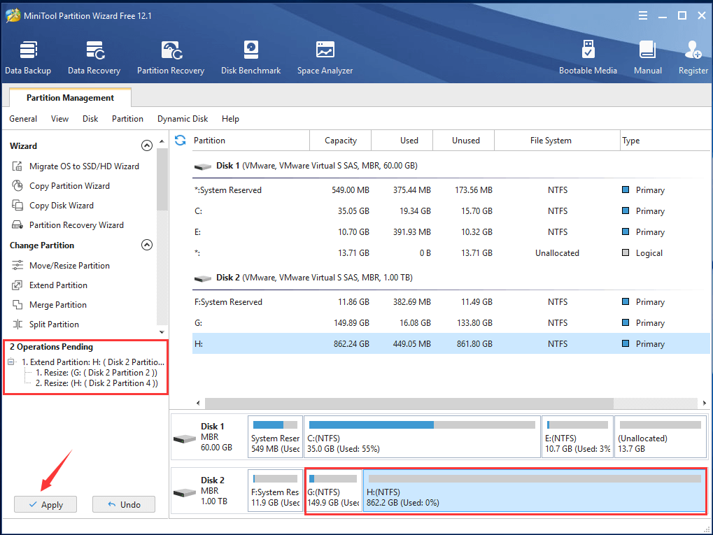 Preview and Apply Partition Extending
