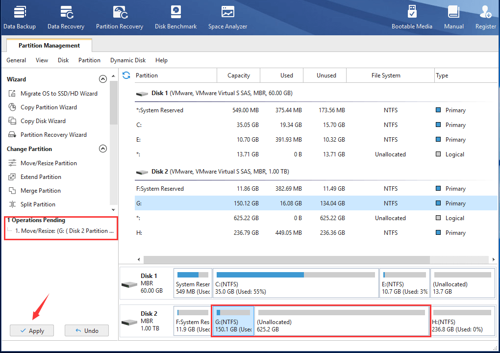 Apply Shrinking Partition