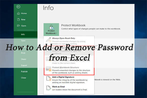 add or remove password from excel thumbnail