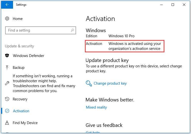 Windows 10 is activated