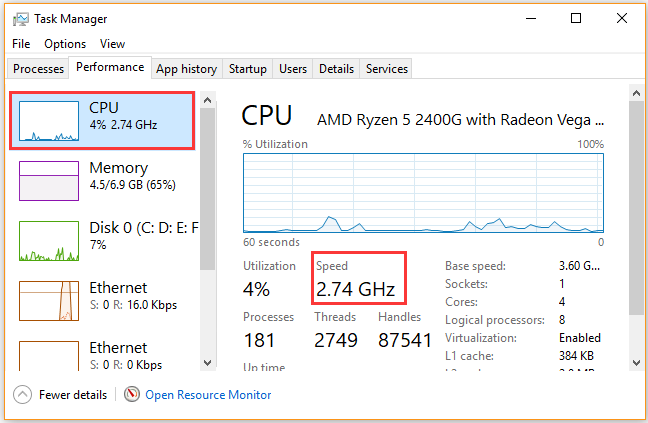 check CPU speed in Task Manager window