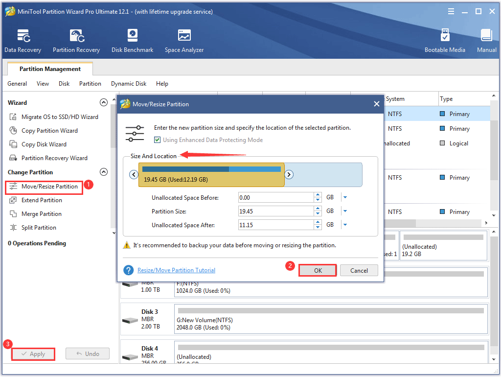 shrink a partition via MiniTool Partition Wizard