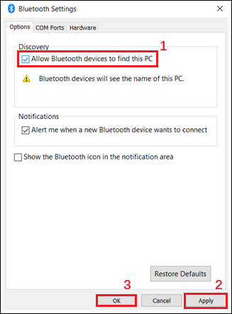 allow Bluetooth devices to find this PC