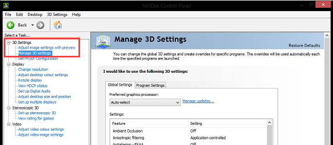 click on Manage 3D settings