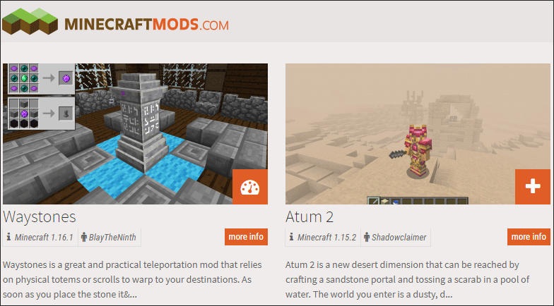 two Minecraft mods available on the MinecraftMods website