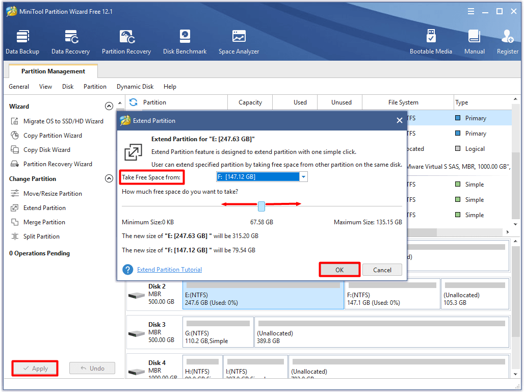 configure partition extend settings and execute the operation