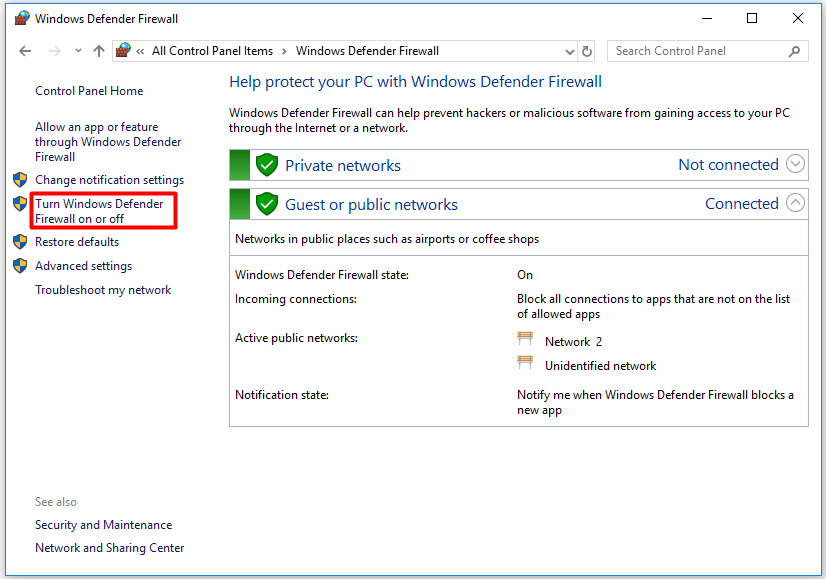click the Turn Windows Defender Firewall on or off option