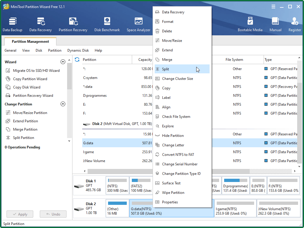 Select Split Partition