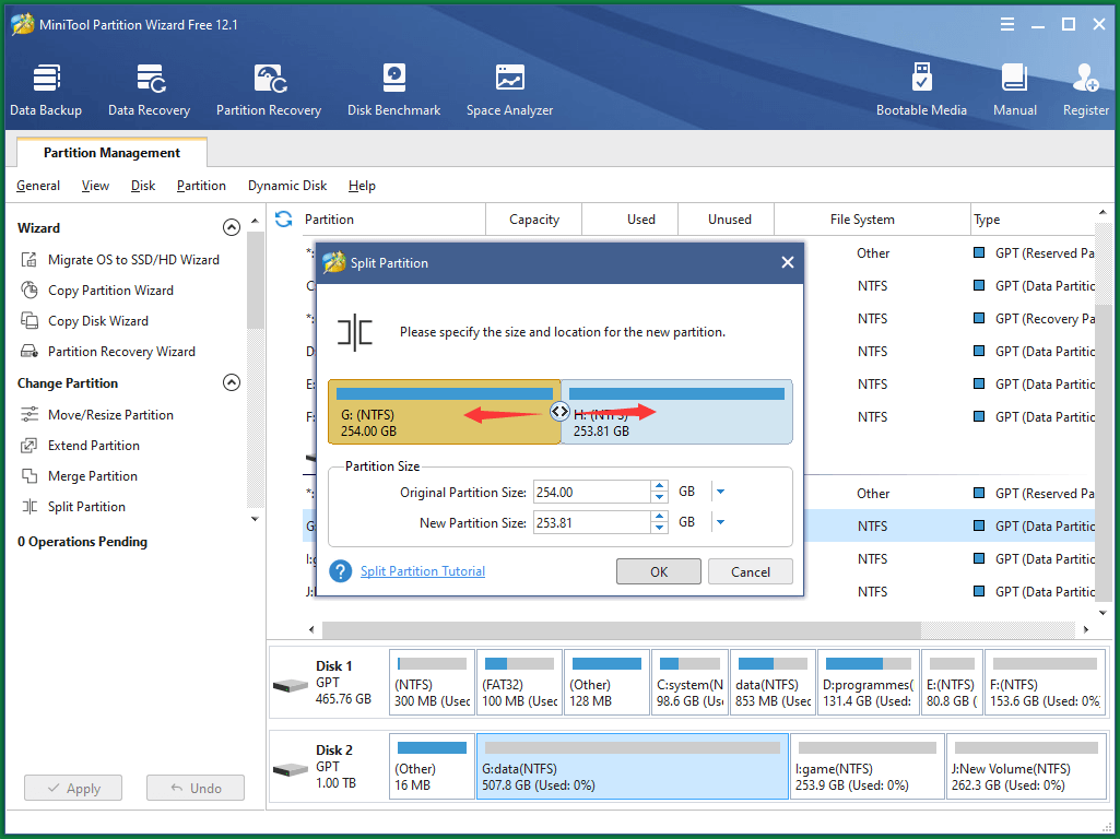 Specify New Partition Size