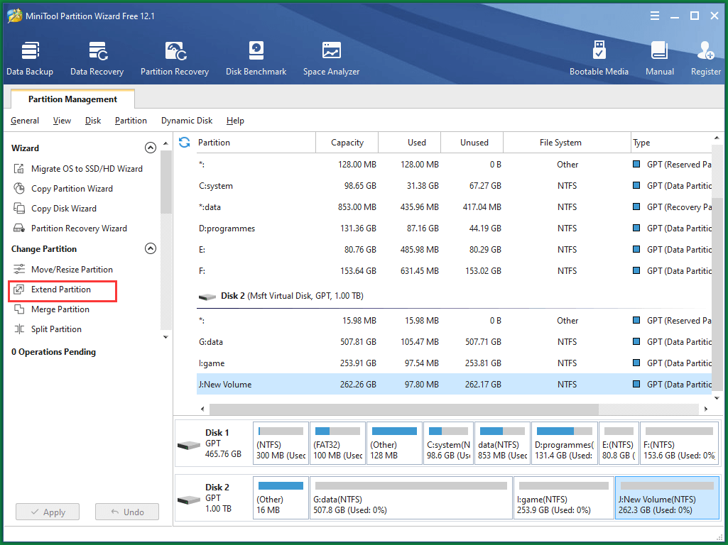Select Extend Partition
