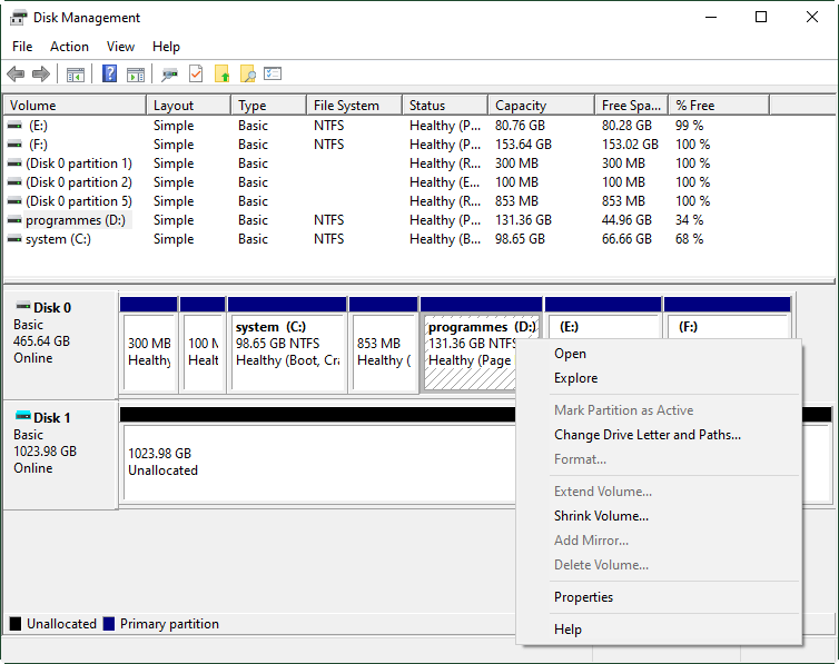 Disk Management Partition Features