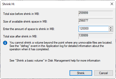 Specify Shrink Space