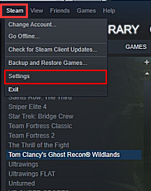 click on Steam and Settings
