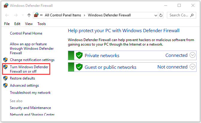 Turn Windows Defender Firewall on or off