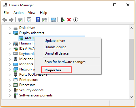 open the properties of graphics card driver