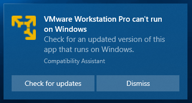 VMware Workstation Pro can't run on Windows