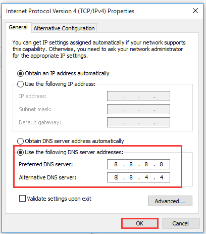 switch to Google DNS server