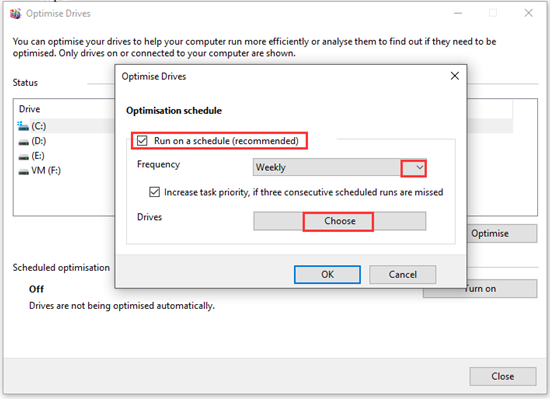 configure drive optimization settings