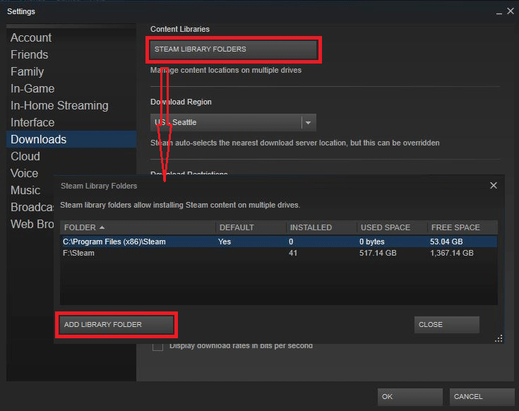 change Steam game installation path