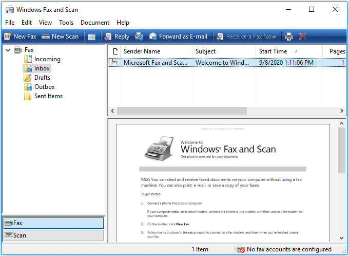 Windows Fax and Scan Windows 10