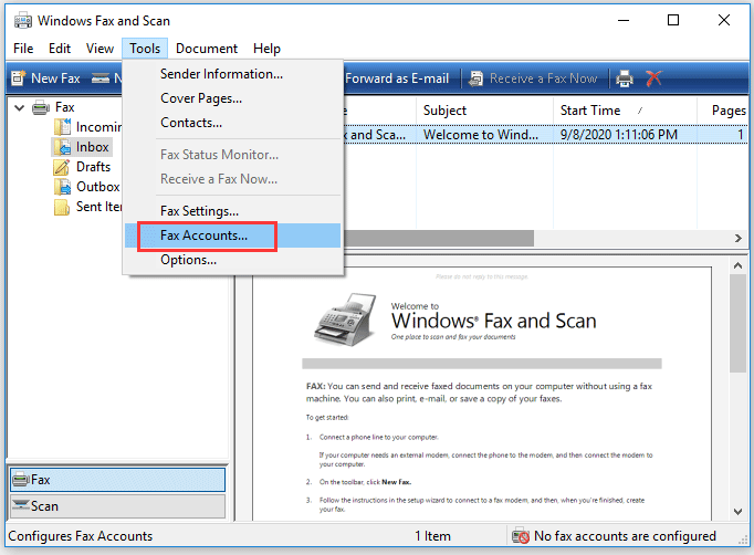 choose the Fax Accounts option under the Tools tab